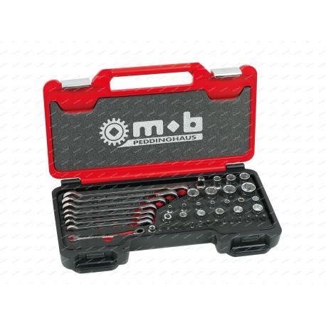 Coffret de clés mixtes à cliquet avec douilles et adaptateur