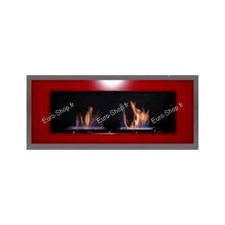 Cheminée éthanol murale luxe avec 2 brûleurs réglables