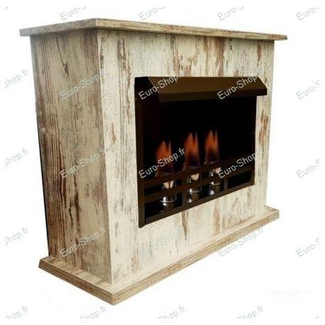 Cheminée éthanol 3 brûleurs avec son meuble
