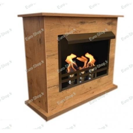 Cheminée éthanol design chêne avec meuble