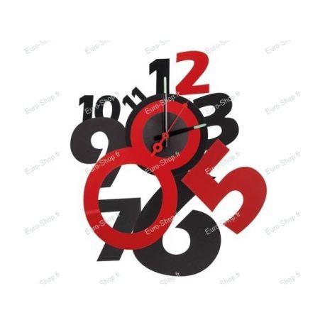 Horloge murale autocollante rouge et noir